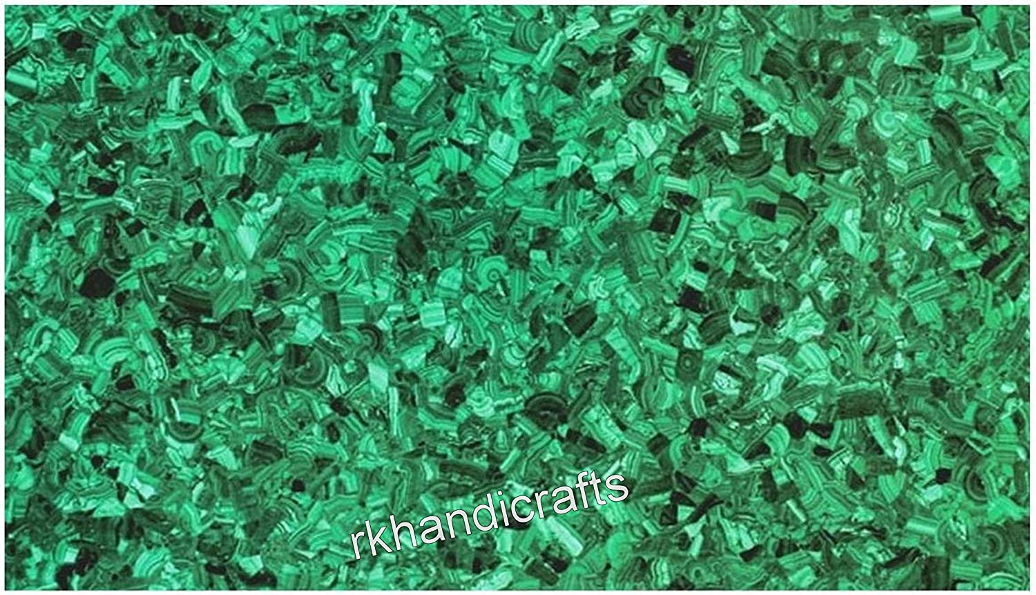 24 Inches x 36 Inches Marble Sofa Table Top Rectangle Shape at Random Work with Malachite Gemstones, Assent Home Furniture