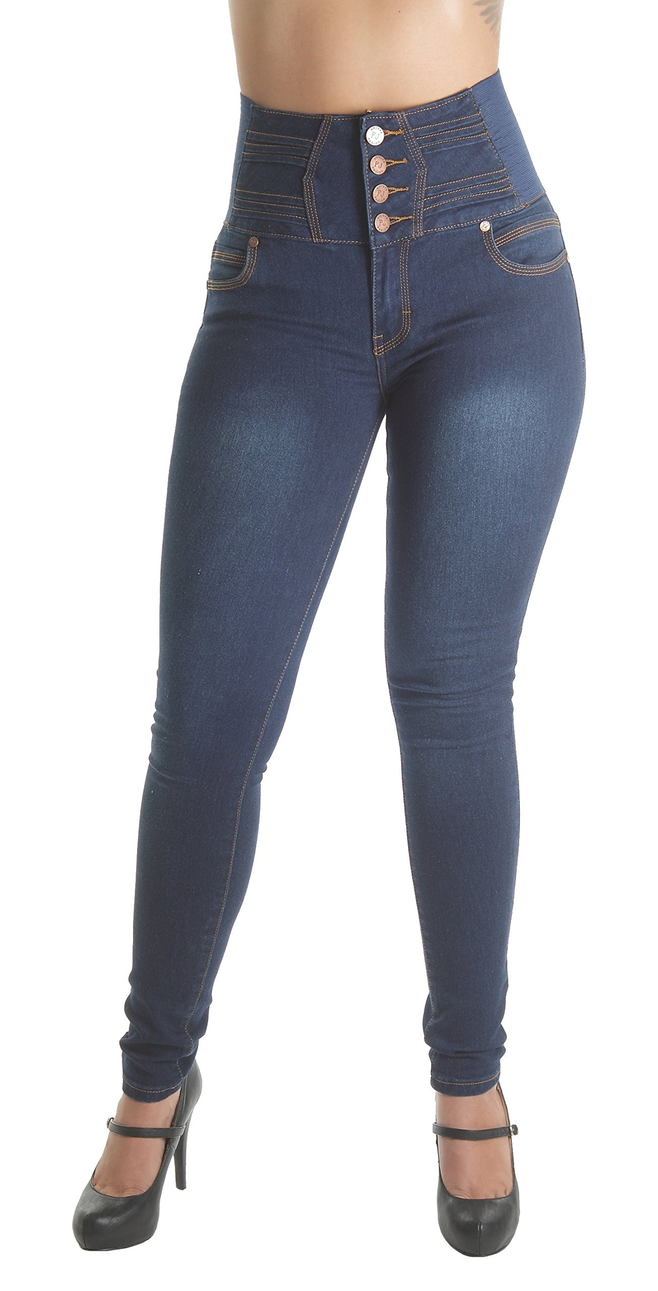Fashion2Love WG0059B – Colombian Design, Levanta Cola, Elastic High Waist Skinny Jeans in Navy Size 17