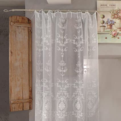 At17 Tenda Shabby Chic Poliestere Ricamata 140 X 270 Colore Off