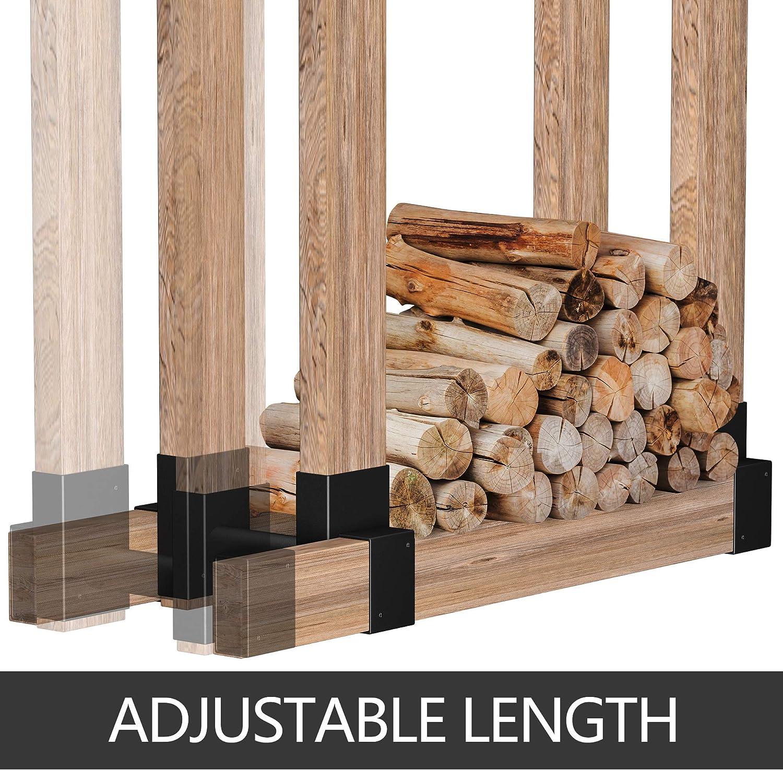 Amagabeli 2Pack Firewood Bracket Log Rack Bundle Amagabeli Black Wrought Iron Fireplace Log Grate 30 inch