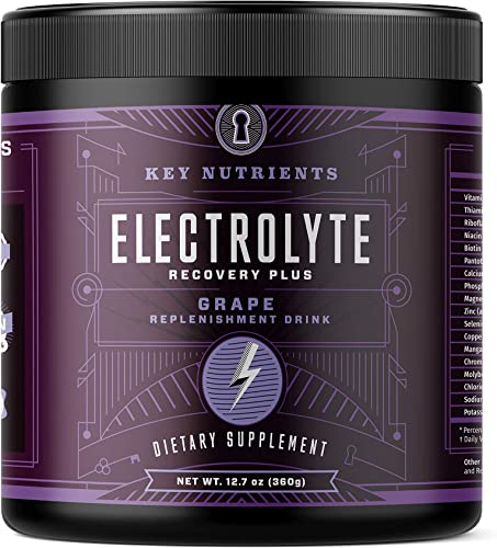 Electrolyte Powder, Grape Hydration Supplement 90 Servings, Carb, Calorie Sugar Free, Delicious Keto Replenishment Drink Mix. 6 Key Electrolytes – Magnesium, Potassium, Calcium More.