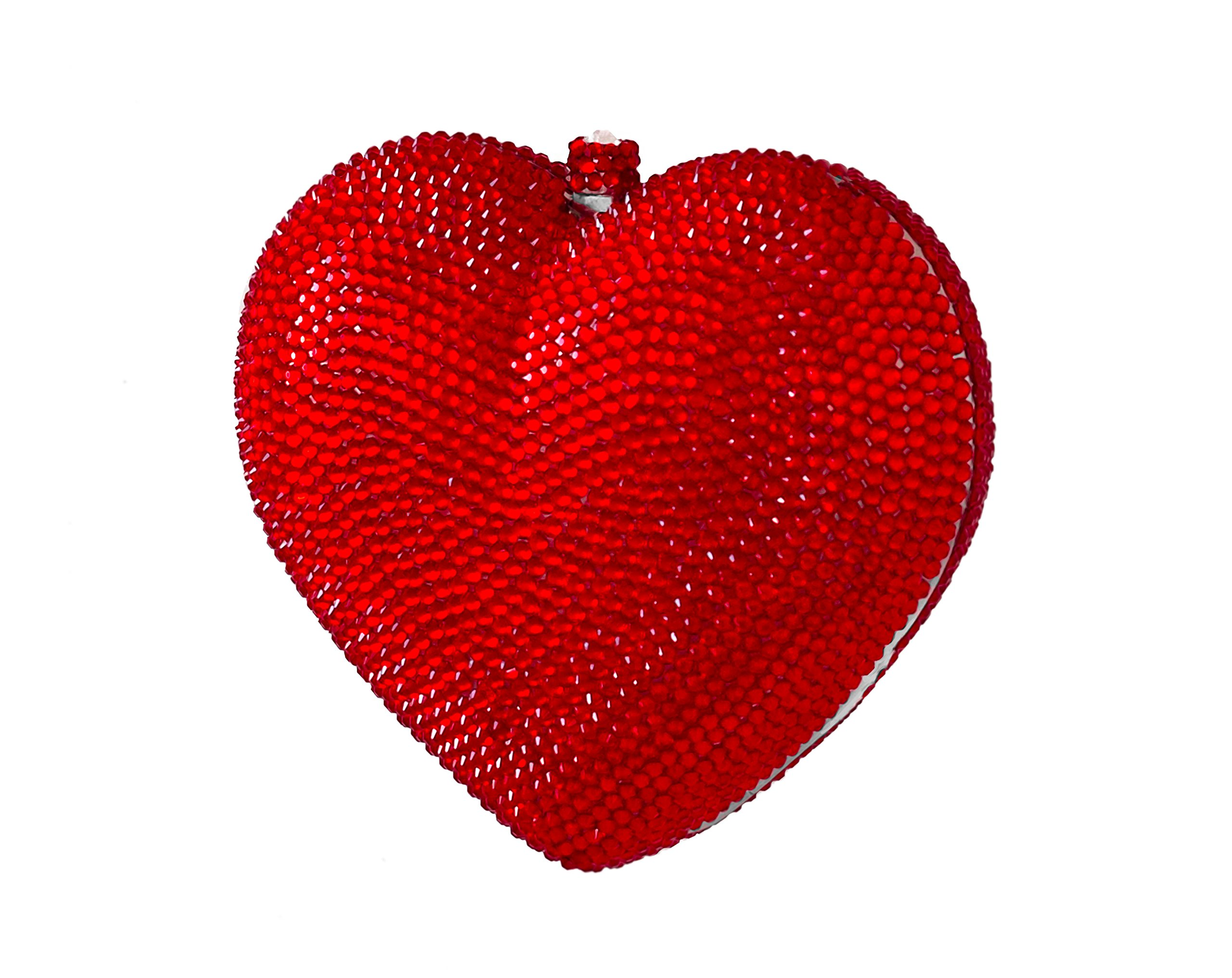 3D Heart Shaped Crystal Bridal Clutch Formal Party Evening Bag Pave Minaudiere Compact Mirror Gift Set Crimson Red