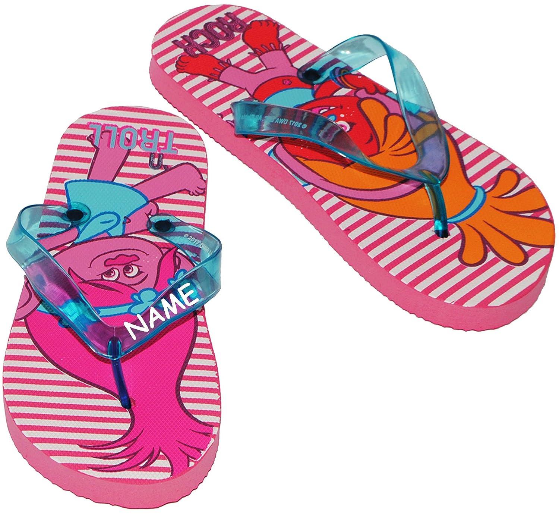 alles-meine.de GmbH Sandalen / Zehentrenner - Gr. 27 / 28 -  Trolls - Poppy & Freunde - incl. Name - Badeschuhe mit Profilsohle / Rutschfeste Schuhe Schuh - für Kinder - Mädch..