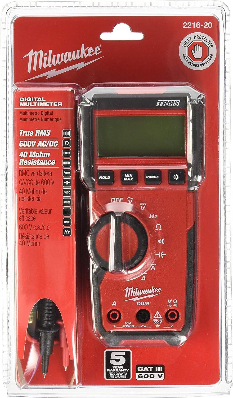 Digital Multimeter,600V,10A,40 MOhms MILWAUKEE 2216-20