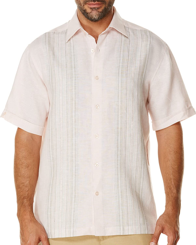 Cubavera Mens Tropical Engineered Panel Short Sleeve Shirt