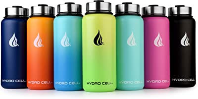 HYDRO CELL Stainless Steel Water Bottle w/Straw & Wide Mouth Lids (40oz 32oz 24oz 18oz) - Keeps Liquids Hot or Cold with...