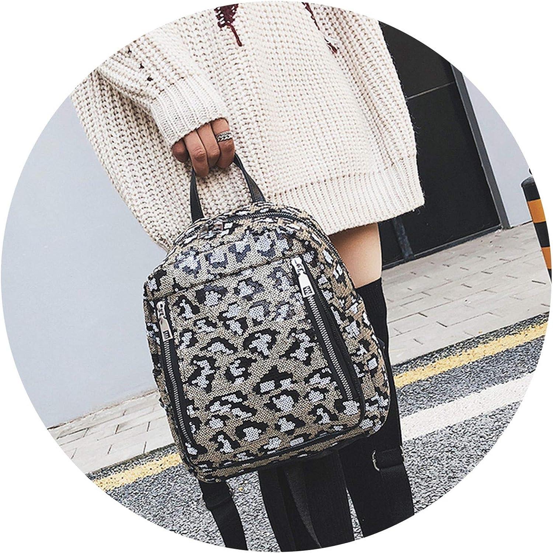 Leopard Print Backpack Bag For School Bling Sequ Backpack Shoulder Feminina