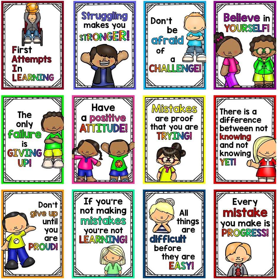 Richardy 12 Pcs Growth Mindset Posters Encouraging Words Classroom Decorations Wall Decor Poster Inspirational School Bulletin Board Decor Montessori Teaching Aids Big Size 11.69X8.27 Inch
