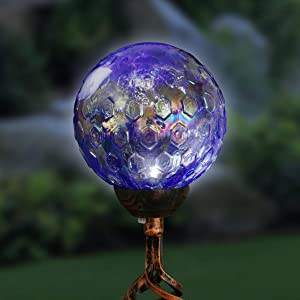 Exhart Solar Pearlized Honeycomb Glass Ball Garden Stake with Metal Finial in Dark Blue, 4 by 31 Inches