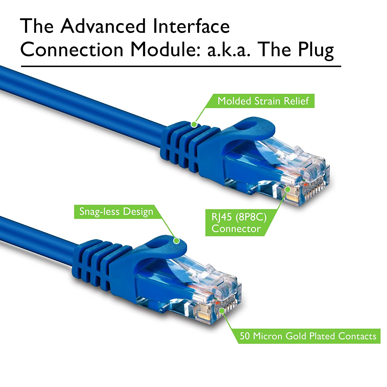 Preimum Series 18 Inches Cat 6 Ethernet Cable Snagless Flexible Soft Tab Blue GearIT 10-Pack Cat6 Patch Cable 1.5 Feet