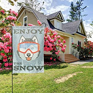 Winter with Husky Garden Flags 12.5x18 inches Enjoy The Sonw House Banners Home Outside Decoration Flags Courtyard