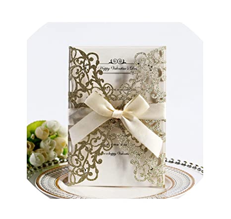 Amazon Com 100pcs Glitter Paper Wedding Invitation Card