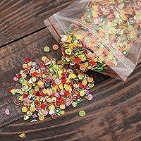 AKOAK 1000 Pcs/Pack Clay 3D Fruits Slices Nail Art Decorations - Mixed Color,Shape & Size