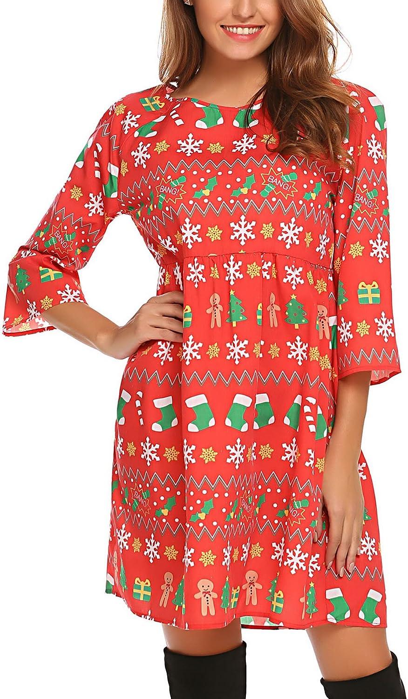 SE MIU Women Christmas Bohemian Ethnic Print Long Sleeve Top Tunic Dress
