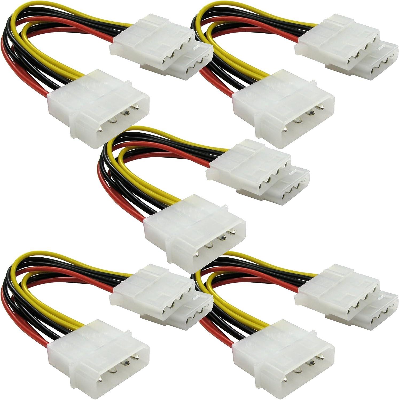 23cm Pack of 5 TrueWay Molex Power Splitter Cable 5.25 male to 2 x 5.25 female