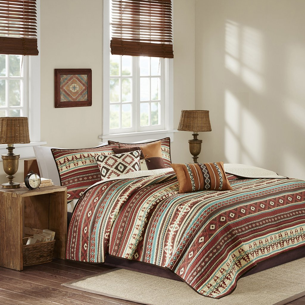 Madison Park Taos King/Cal King Size Quilt Bedding Set - Rosewood Red, Geometric – 6 Piece Bedding Quilt Coverlets – Ultra Soft Microfiber Bed Quilts Quilted Coverlet