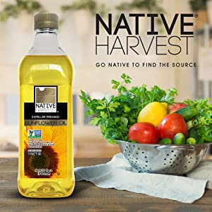 Native Harvest Expeller Pressed Non-GMO Sunflower Oil, 1 Litre (33.8 FL OZ)