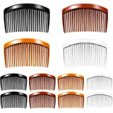 12 Pieces Plastic Side Hair Twist Comb French Twist Comb Hair Clips with Teeth for Fine Hair Accessories Women Girls, 4 Color
