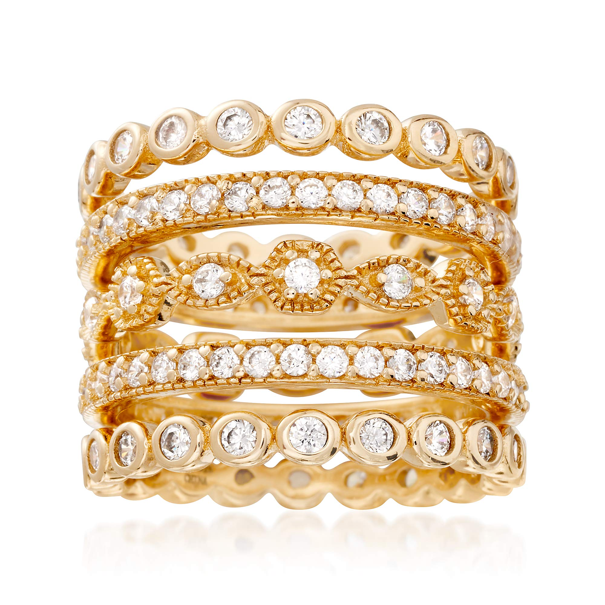 Ross-Simons 2.80 ct. t.w. CZ Jewelry Set: Five Eternity Bands in 14kt Gold Over Sterling