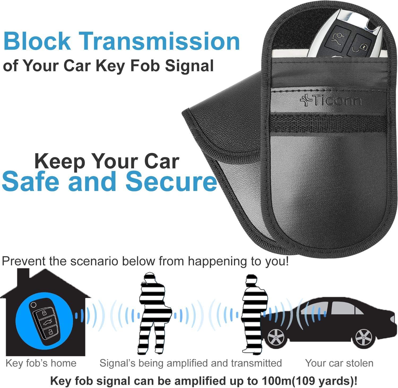 2 Llave del coche bloqueador de señal caso FOB sin llave RFID Nfc Bluetooth GPS Bolsa de bloqueo