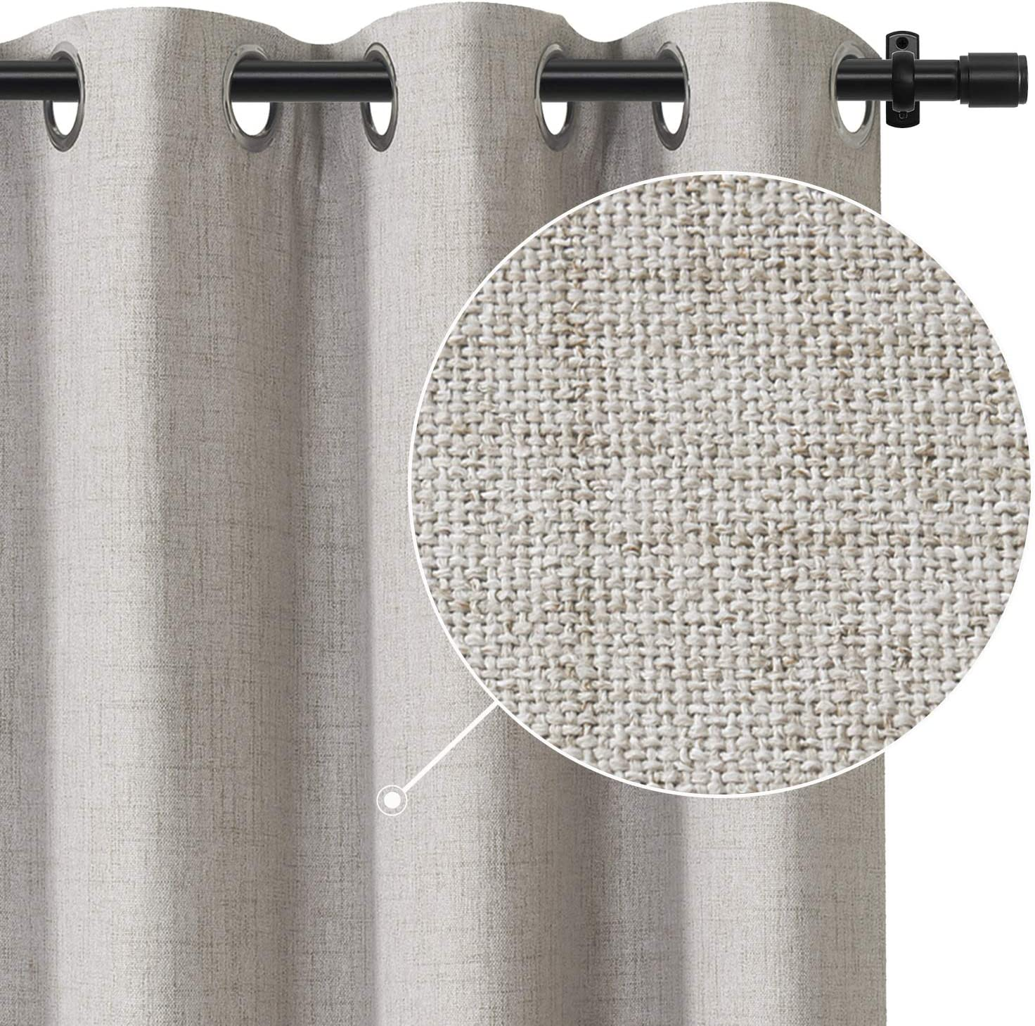 Rose Home Fashion 100% Blackout Curtains, Linen Textured Room Darkening Darpes& Thermal Insulated Liner, Blackout Curtains for Bedroom/Living Room-1 Panel (50x63 Beige)