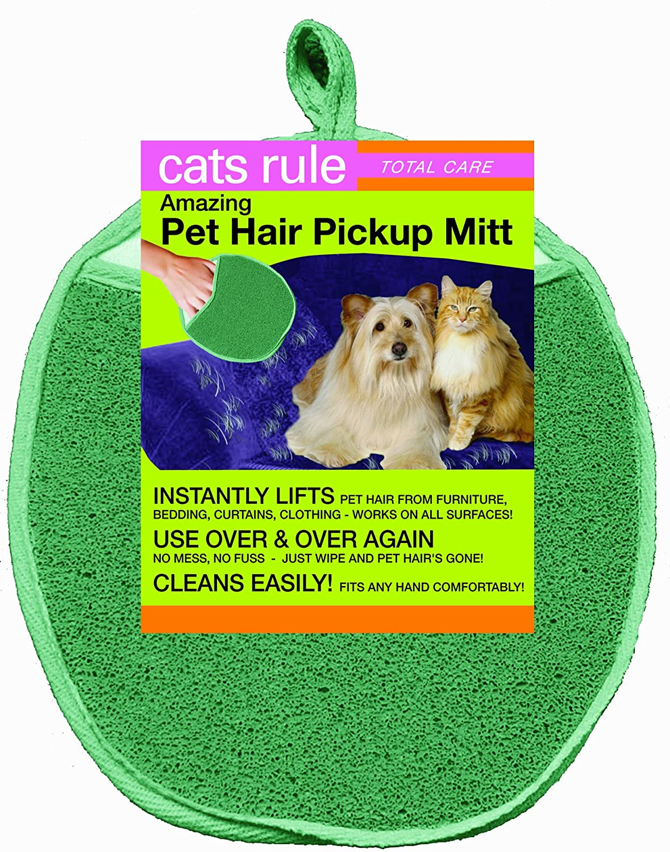 Cats Rule Amazing Hair Pick Up Mitt, Green