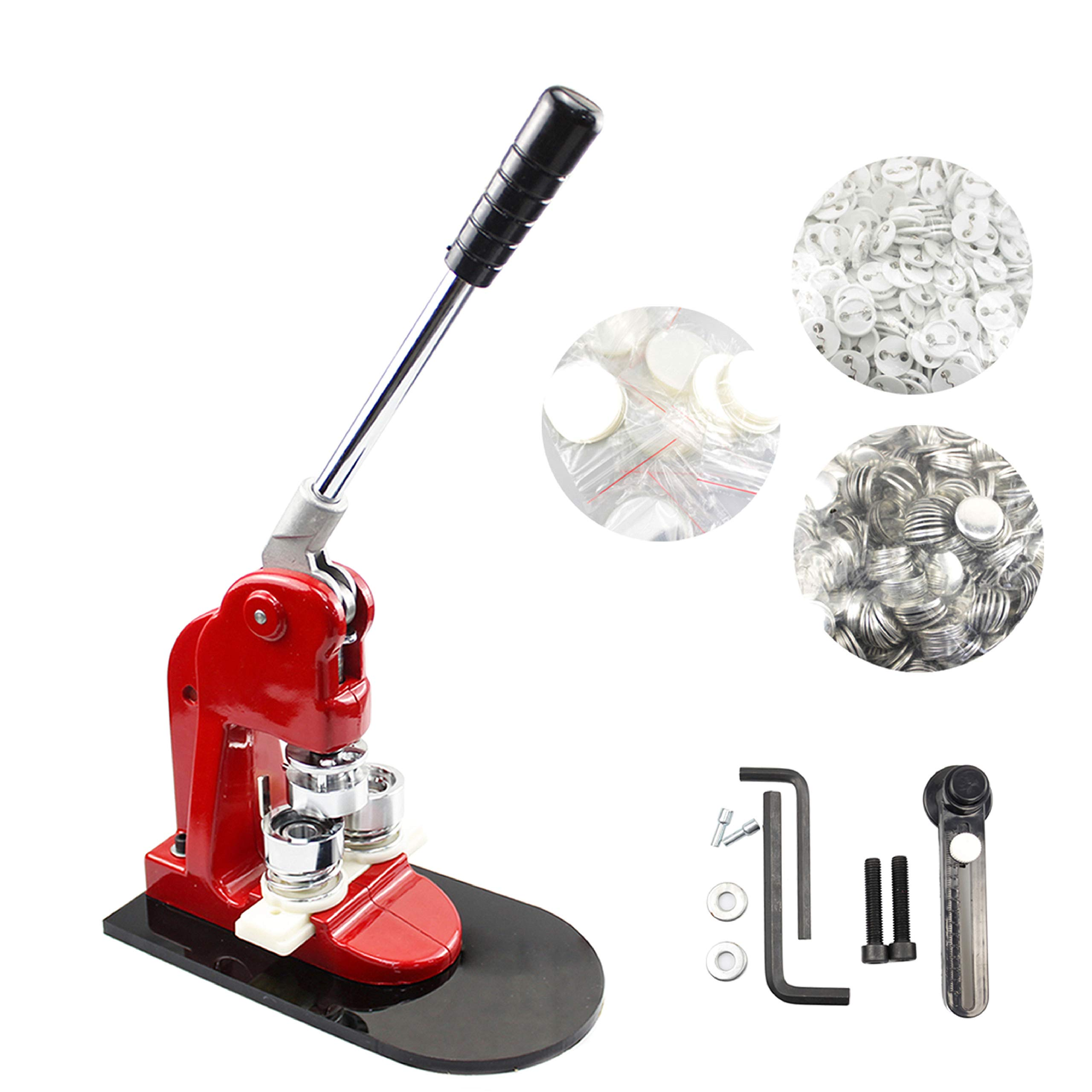 1'' 25mm Button Badge Maker Punch Press Machine with 1000 Sets of Button Parts and Circle Cutter for DIY by multool