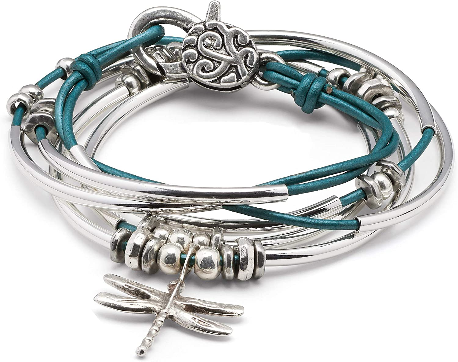 Lizzy James Dragonfly Charm Metallic Teal Leather Wrap Bracelet Necklace
