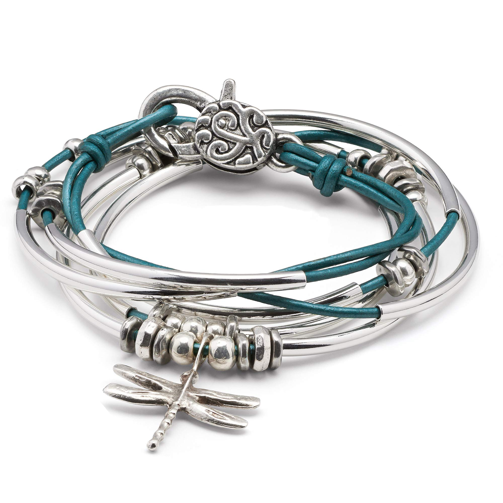Lizzy James Dragonfly Charm Metallic Teal Leather Wrap Bracelet Necklace (XXLarge) by Lizzy James