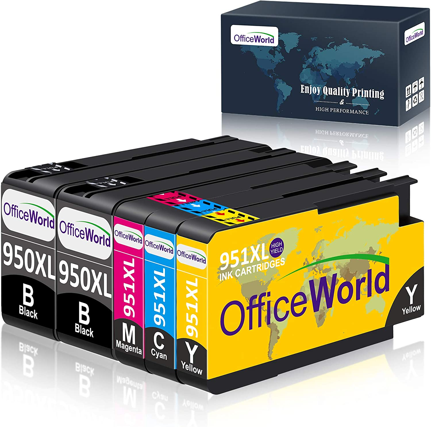 OfficeWorld Compatible Ink Cartridge Replacement for HP 950 951 950XL 951XL for HP Officejet Pro 8600 8610 8620 8630 8640 8100 8625 8615 251dw 271dw 276dw Printer, 5-Pack