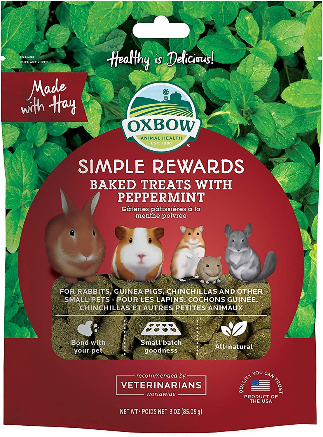 New Oxbow Simple Rewards All Natural Oven Baked Treats With Peppermint And Timothy Grass For Rabbits, Guinea Pigs, Hamsters And Other Small Pets 2Oz