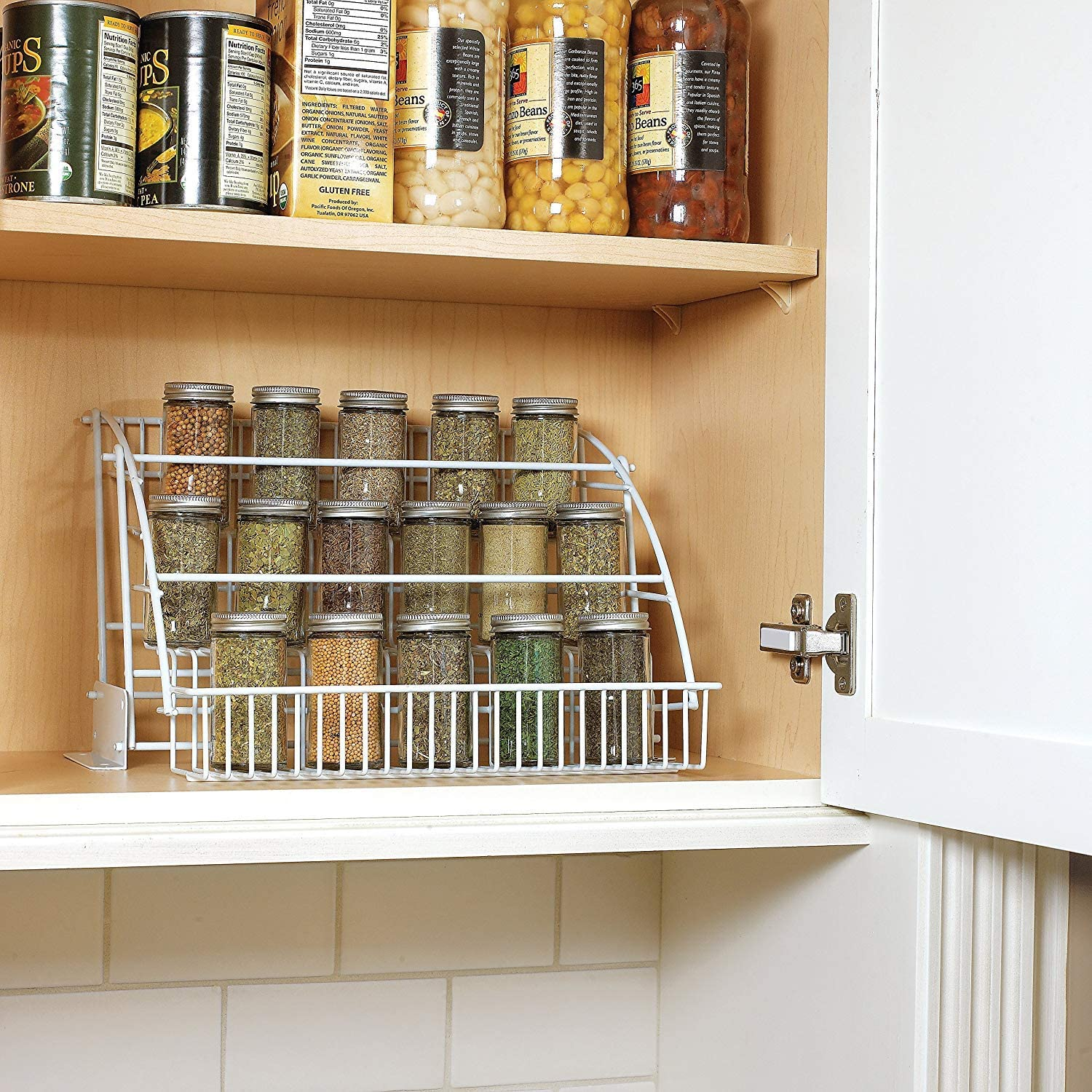 White Spice Rack Rubbermaid 3-Tier Step Shelf Pull Down Spice Rack - Easy View Salt Pepper Powders Flakes Herb Containers - Kitchen Pantry Cabinet Cupboard Organization