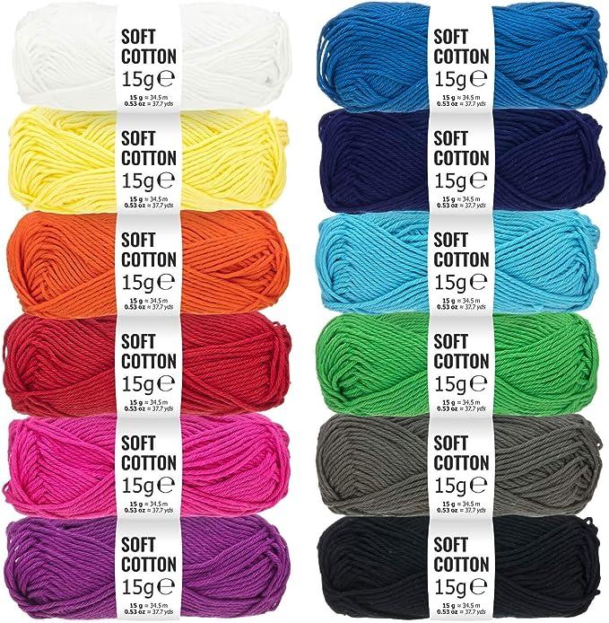 Set de amigurumi 100% algodón - Set de 180g (12 x 15g) - Lana certificada Oeko-Tex Standard 100 para punto y ...