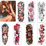 Aresvns Temporary Tattoos for Women Girls and Kids,Full Arm Fake Tattoo Stickers Flowers,Beautiful Realistic Sleeve Tattoos W