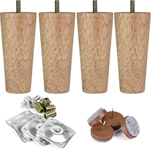 "Full Set Furniture Legs 5"" M8 IKEA Replacement Legs with Leg Mounting Plates & Felt Protectors,Tapered Wood Legs for Furniture Sofa Couch Ottoman Coffee Table Bench Chair"