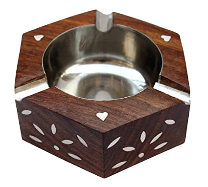ITOS365 Handmade Wooden Ashtray Hexagon for Home Office Car Gifts