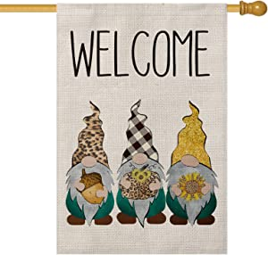 AVOIN Welcome Fall Leopard Buffalo Plaid Gnomes Hazelnut Sunflower House Flag Vertical Double Sized, Autumn Thanksgiving Holiday Yard Outdoor Decoration 28 x 40 Inch