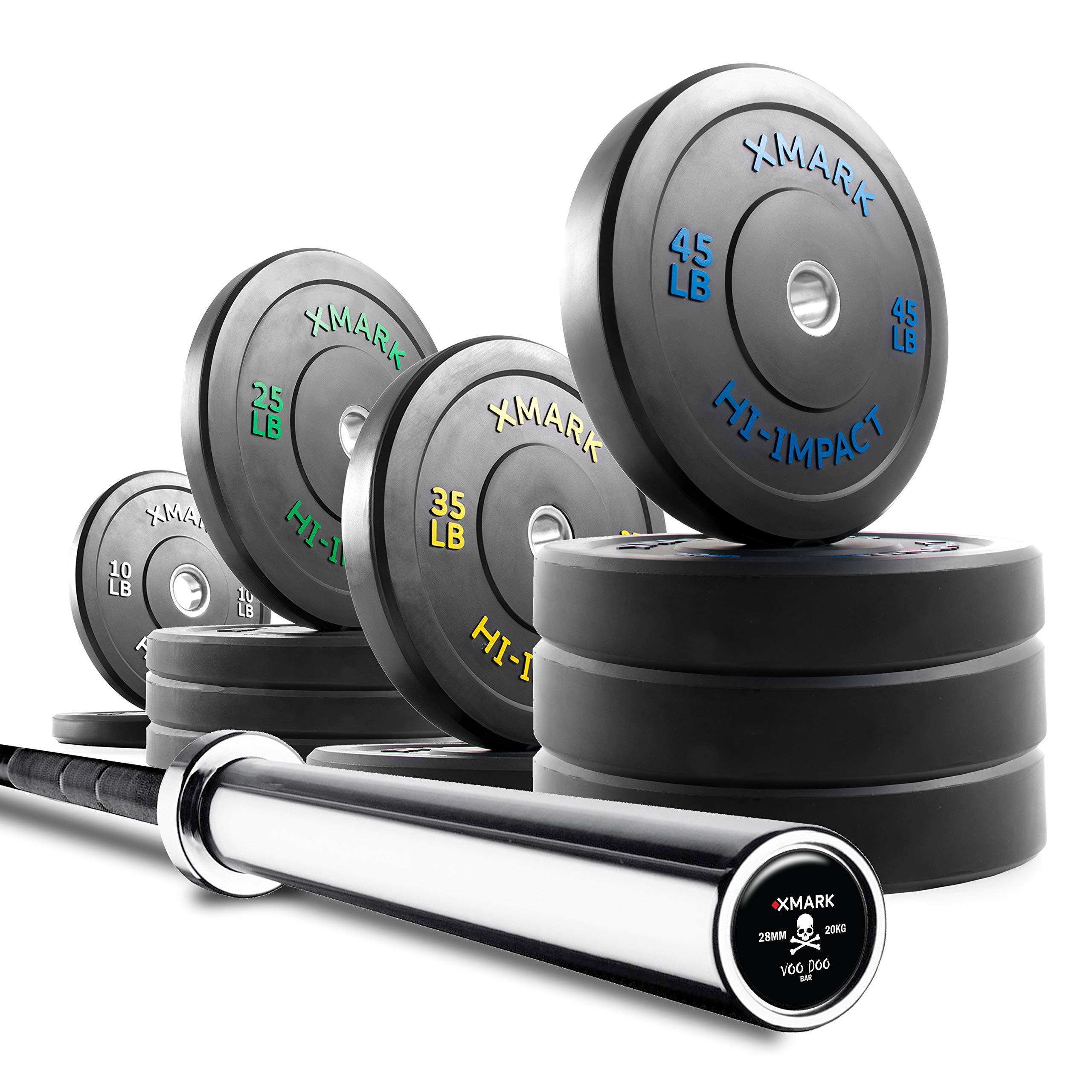XMark Voodoo Commercial 7' Olympic Bar Plus 370 lbs. of XMark HI-Impact Low Bounce Virgin Rubber Olympic Bumper Plates