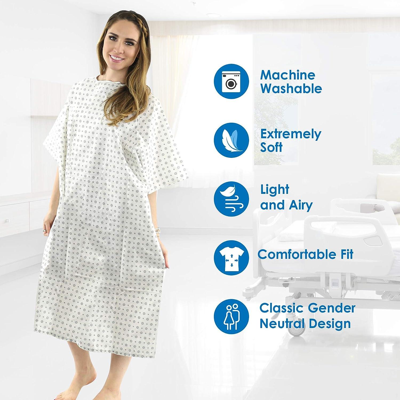 Bata de hospital, 2 unidades, mezcla de algodón, útil, para pacientes, atadura dorsal, 117 cm de largo y 168 de ancho, se adapta a todos los tamaños hasta XXL: Amazon.es: Amazon.es