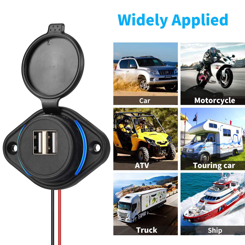 Motorrad ATV Roller Rupse USB Auto Steckdose 5V 4.8A Dual Auto KFZ Ladeger/ät RV LKW Wasserdichte Power Adapter 12V//24V mit Sicherung 5A LED Blaue Licht f/ür Boot