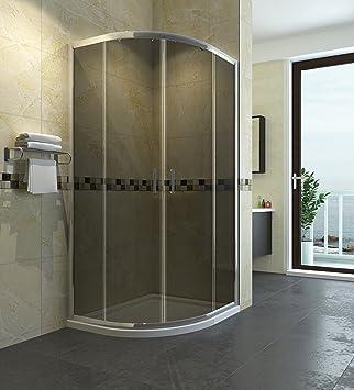 Cabina de ducha Cuarto circular (90 x 90 cm Mampara de ducha puerta sin plato de ducha redonda ducha puerta corredera ducha ducha pared Altura 185 cm Gris: Amazon.es: Bricolaje y herramientas