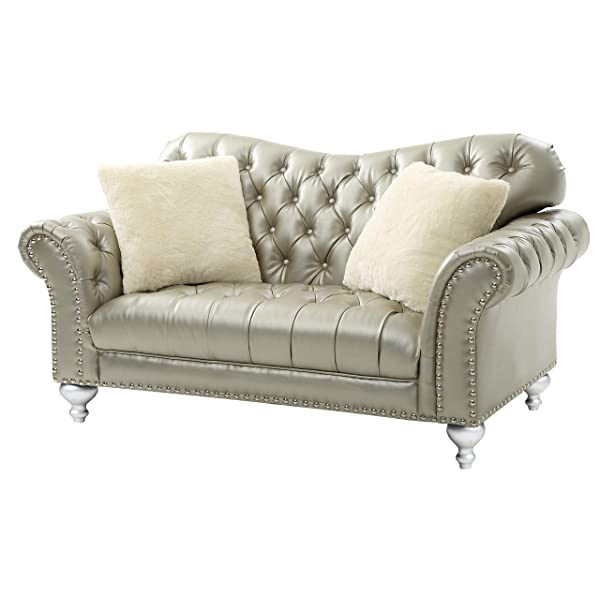 Glory Furniture Woodbridge G704-L Loveseat, Gold Silver. Living Room Furniture, H x 71