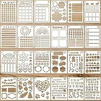 24 Pieces Journal Stencils Plastic Planner DIY Templates Reusable Painting Stencils Calendar Drawing Craft Templates for…