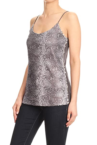 6f759a4f0ee7a5 Anna-Kaci Womens Matte Sequin Exotic Snake Skin Print Bodycon Camisole Tank  Top at Amazon Women s Clothing store