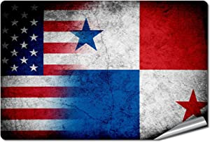 "ExpressItBest 5"" x 7"" Decal/Sticker/Skin with Flag of Panama - Rustic w USA Flag - UV Resistant - Outdoor Quality - Lasts for Years"
