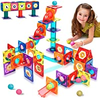 HOMOFY Magnetic Tiles 115Pcs Pipe Magnetic Blocks for Kids 3D Magnetic Building Blocks Tiles Set-Magnet Marble Run with…