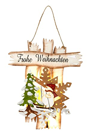 Schriftzug Frohe Weihnachten.Heitmann Deco Holz Türschild Mit Led Beleuchtung Mit Schriftzug
