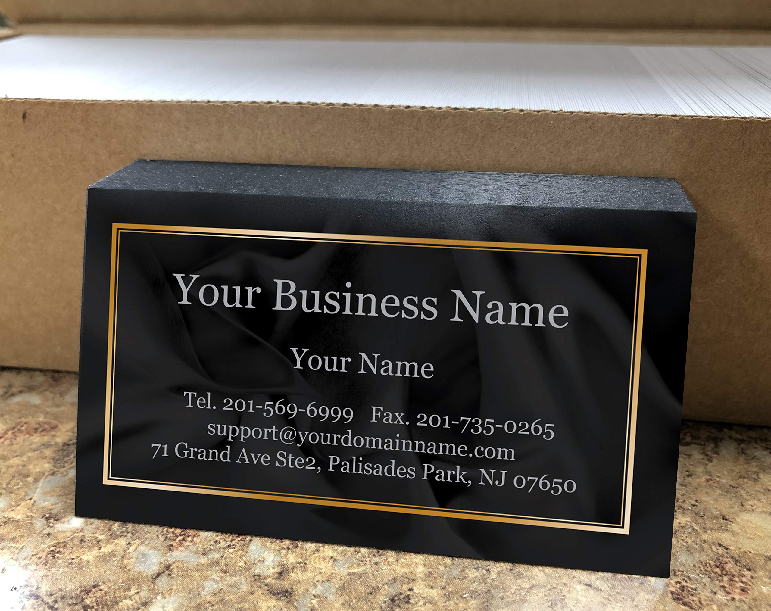 Custom Premium Business Cards 500 pcs- Black Ocean Wave-16pt cover (129 lbs. 350gsm-Thick paper),Offset Printing, Made in The USA