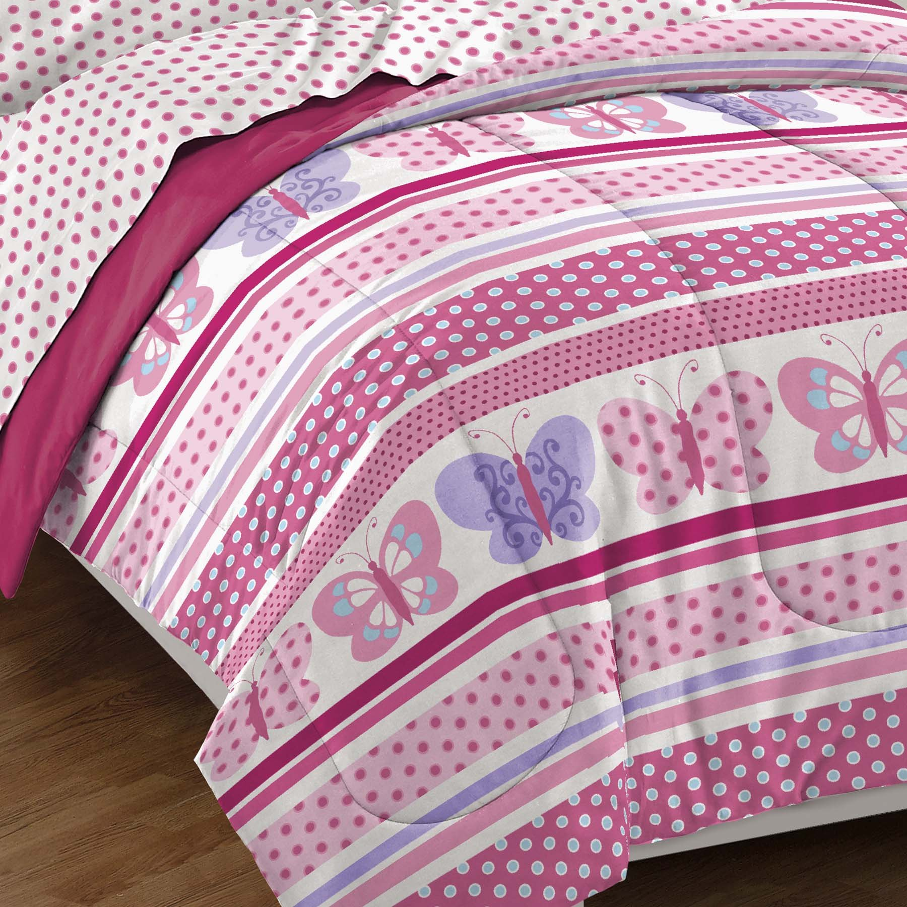 Dream Factory Butterfly Dots Ultra Soft Microfiber Girls Comforter Set, Pink, Twin by Dream Factory (Image #4)