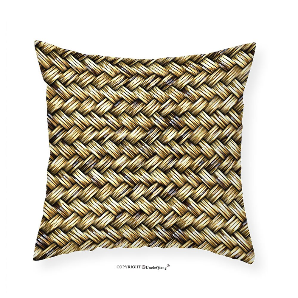 VROSELV Custom Cotton Linen Pillowcase Rattan Basket Weave Pattern Natural Boho Country Style Geometric Monochrome Art Design for Bedroom Living Room Dorm Gold 14'' x14